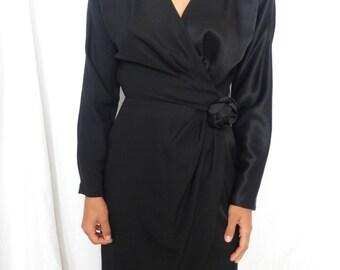 Vintage C.C. Courtenay Satin Dress 80's Does the 50's Dress