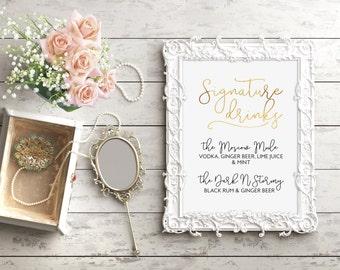Signature Drink Sign, Custom Wedding Sign, Minimal Wedding, Chic Wedding Decor, Real Gold Foil, Gold Wedding Decor, Wedding Bar Sign