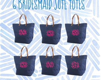 6 Bridal Party Tote Bags | Bridesmaid Gifts | Tote Bag | Bachelorette Party Gift | Destination Wedding Bag | Bridesmaid Bags
