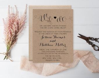 We Do Wedding Invitation Template - Rustic Kraft Heart Wedding Invitation - Printable Invitation - Editable PDF Templates - DIY You Print