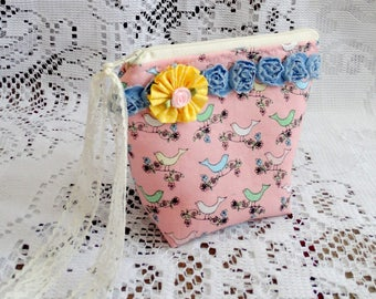 Small Bird Zippered Pouch, Accessory Bag, Makeup Bag, Lipstick Case, Free USA Shipping