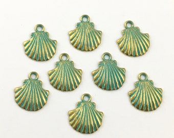 8 shell charms gold and green patina,15mm x18mm # CH586