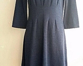 Sale -- 90s Formal Day Dress - Minimalist Shimmer - Midnight Blue Cotton Dress - Medium