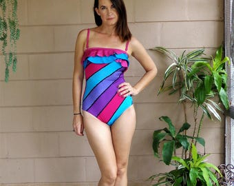 Vintage One Piece Swimsuit / Striped Ruffle / Teal Pink Black Purple / Small