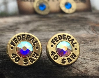 40 Caliber Stud Earrings - Brass Bullet Casings