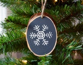 Wooden Chalkboard Snowflake Christmas Ornament, Hand-Painted / Christmas Ornament / Design D