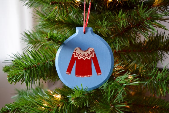 Christmas Sweater Wooden Ornament, Hand-Painted / Red and White / Christmas Ornament / Ugly Christmas Sweater