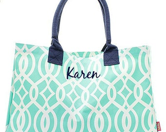 Personalized Ivy Trellis Oversized Large Beach Bag Tote - Navy & Mint Monogrammed Embroidered