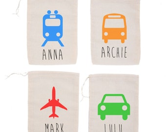 Things that Go! {set of 10} Personalized Party Favor Bags