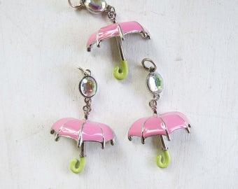 "3 Pink Umbrella Pendants 2 D Pink enamel charms- 2"" x 1 1/4"""