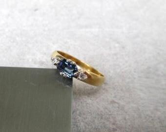 Vintage ring jewels silver gold plated Gr. 54, Gem Stone Ring silver gold plated US size 6.8 UK size N