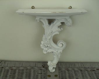 White Wall Shelf Ornate Romantic Shabby Distressed Syroco Wood