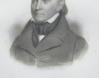 Original 19th Century Engraving President John Quincy Adams by V. Balch - Free Shipping