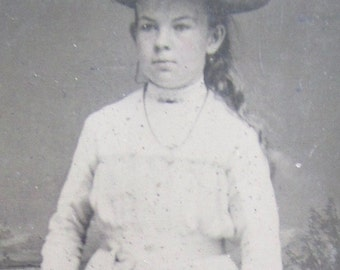 Pretty Young Wealthy Girl Ready To Face The World 1880's Tintype Photograph - Free Shipping