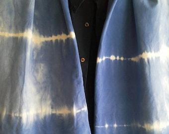 Men shawl blue beige, Scarf Jersey shibori blue dyed, scarf ecru blue hipster men, blue beige shawl vegan eco friendly, men scarf blue ecru