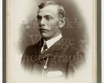Cabinet Card Photo - Handsome Young Victorian Man with Mustache - H C Messer of Salisbury England