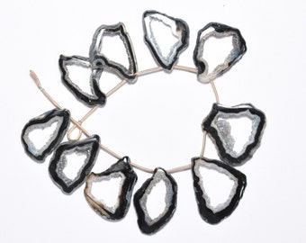 AAA 10 Pcs 19x29-29x31mm Natural Black Agate Geode Slice Druzy-Black Agate Slice Druzy Beads-Nice Crystals(1868)