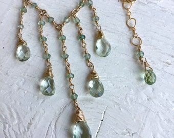Green Amethyst Prasiolite Briolette Necklace Multi strand Necklace February Birthstone Wedding Jewelry Wedding Jewelry, Bridal