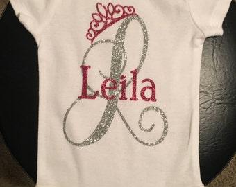 Custom Baby Girl Monogram with Crown Onesie