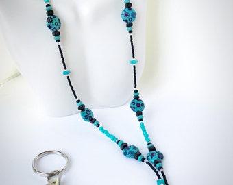 Turquoise Lanyard - Beaded Lanyard - Breakaway Lanyard - Magnetic Lanyard - Black Lanyard - ID Badge and Keychain