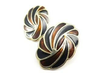 Vintage Brown Enamel Earrings, Gold Tone, Posts
