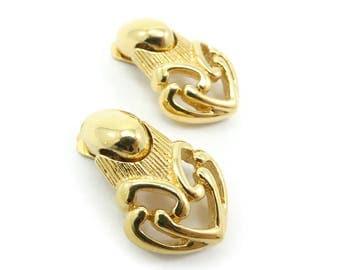 Vintage Keyes Earrings, Dangles, Gold Tone, Clip Ons, Signed