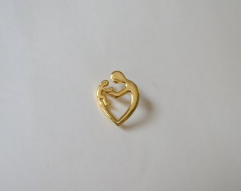 Vintage Mother's Day pin gold heart child baby love brooch lapel jewelry gift