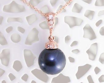 Rose gold pearl necklace,pearl pendant necklace,Swarovski pearl necklace,pearl necklace,navy blue wedding,blue wedding jewelry,dark blue