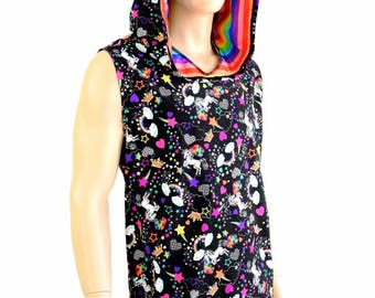 Mens Unicorns and Rainbows UV GLOW Sleeveless Hoodie with Rainbow Stripe Spikes & Hood Liner Rave Festival Burning Man -154400