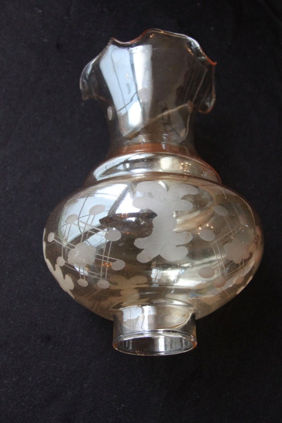 Champagne Colored Etched Oil Lamp Chimney Tinted Glass