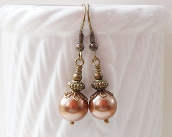 Brown shell pearl earrings, antiqued bronze earrings, brown pearl earrings, brown shell earrings, mocha pearl earrings, vintage style