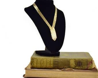 Vintage Goldtone Mesh - Mesh Necklace - Vintage Necklace - 1970 Necklace - Gift For Her - Disco Necklace