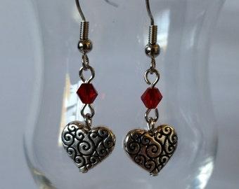 Silver Scroll Work Heart Earrings