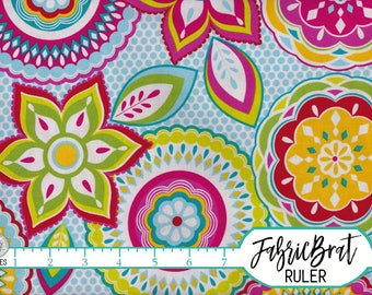 GEOMETRIC MEDALLION Fabric by the Yard Fat Quarter Lime Pink and Blue Floral Fabric 100% Cotton Quilting Fabric Apparel Fabric Yardage a3-19