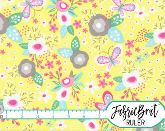 PASTEL MODERN FLORAL Fabric by the Yard, Fat Quarter Butterfly Spring Floral Fabric Apparel Fabric 100% Cotton Fabric Quilt Fabric t5-10