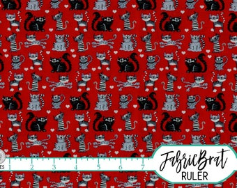 RED & BLACK CAT Fabric by the Yard Fat Quarter Kitty Fabric Black and Red Fabric Pet Fabric 100% Cotton Fabric Quilting Fabric Yardage w5-19