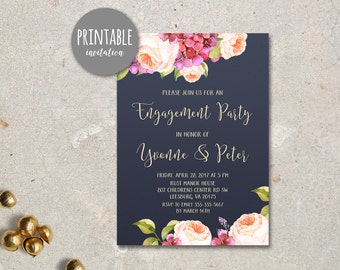Floral Engagement Party Invitation, Printable Engagement Invitation, Spring Summer Engagement Invitation, Boho Engagement Invitation Navy