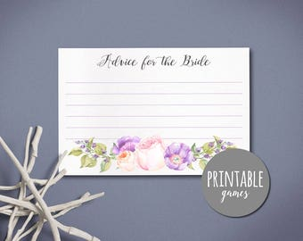 Bridal Shower Advice Card,Advice for the Bride Card PRINTABLE, Bridal shower Games, Floral Advice Card, Printable Advice Card Peach Purple