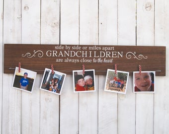Side by side or miles apart Grandchildren are always close to the heart, photo display, picture frame, photo frame, grandparent gift, rustic