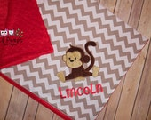 Monkey - Personalized Gray Chevron & Minky Baby Blanket with Embroidered Monkey