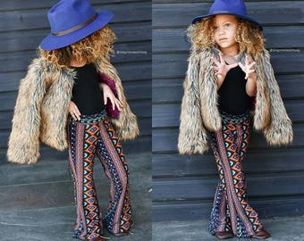 KIDS AZTEC TRIBAL flare leg gypsy hippie retro festival yoga fashion bell bottoms with fold waist optional