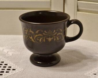 Vintage Franciscan Jamoca Cup Earthenware Brown Gold Scroll California USAPanchosporch