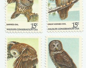 4 American Owls Mint Vintage Postage Stamps Great Gray Saw-Whet Barred Owl Great Horned