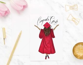 Graduate greeting card, Congratulations card, Graduation card for sister, High school graduation cards, Grad card for her, College grad card