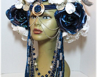 ReadyToShip,RoyalBlueRoses with White LED lights, Head dress, Bellydance, Burning Man, Fantasy Wear,Fairy Headpiece, burlesques