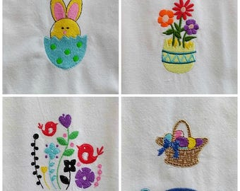Easter Kitchen Towel, Vintage Style, Embroidered Towel, Cotton Towel