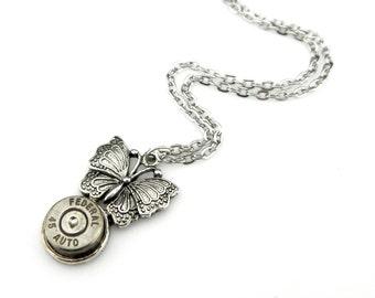Edwardian Pendant - .45 caliber Bullet Pendant - Federal Bullet Pendant - Petite Steampunk Butterfly Pendant - Steampunk Gift Idea