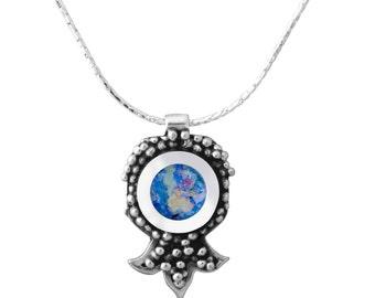 Sterling Silver Necklace Blue Roman Glass Pomegranate Handmade Judaica Pendant