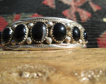 Black and White Onyx and Sterling Cuff Bracelet