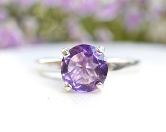Natural Pink Amethyst Brilliant Cut Ring in 925 Sterling Silver *Free Worldwide Shipping*